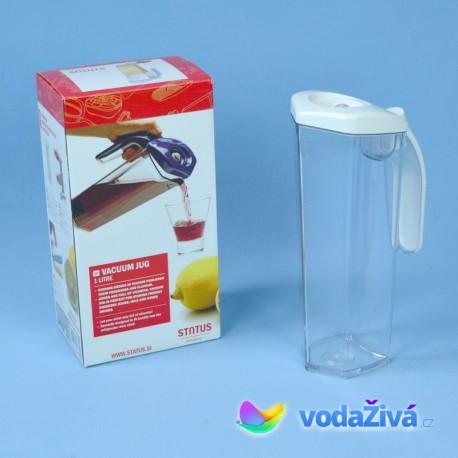 Vakuová láhev 1l na uchování čerstvé šťávy - barva transparentní v kombinaci s bílou nebo zelenou