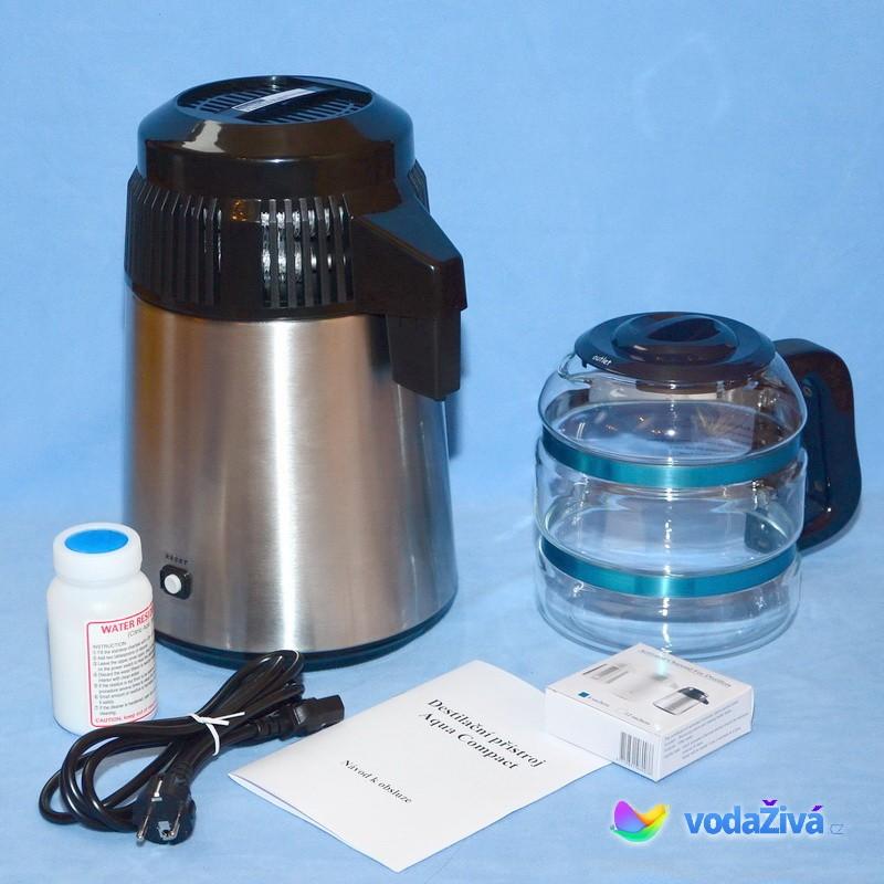 AquaCompact 2 Megahome - barva chrom v kombinaci s černou + skleněná nádoba - destilační přístroj
