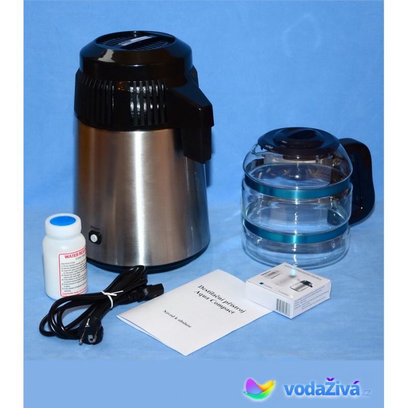AquaCompact 2 Megahome - barva chrom v kombinaci s černou + skleněná nádoba - destilační přístroj + eBook Zdraví a voda (490Kč), + CD Relax (259Kč), + doprava ZDARMA