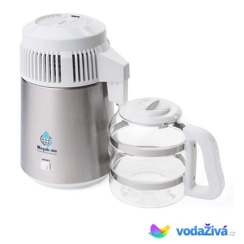 AquaCompact 2 Megahome - barva chrom v kombinaci s bílou + skleněná nádoba - destilační přístroj + e