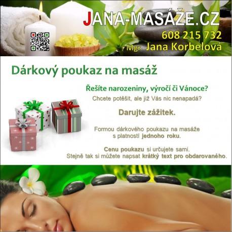 Dárkový poukaz na masérské služby JANA-MASAZE.CZ České Budějovice
